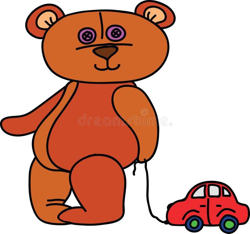 Ours de nounours avec la voiture de jouet illustration libre de droits