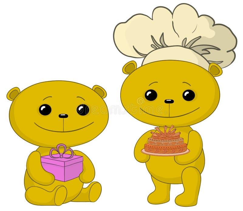 Ours de nounours avec le cadre de gâteau et de cadeau illustration libre de droits