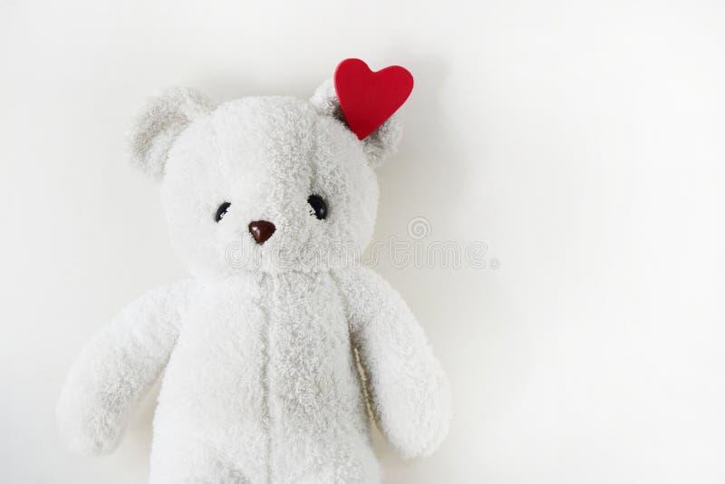 Ours de nounours blanc et espace vide pour le texte Jour de l'amour sur Valentine isolé images stock