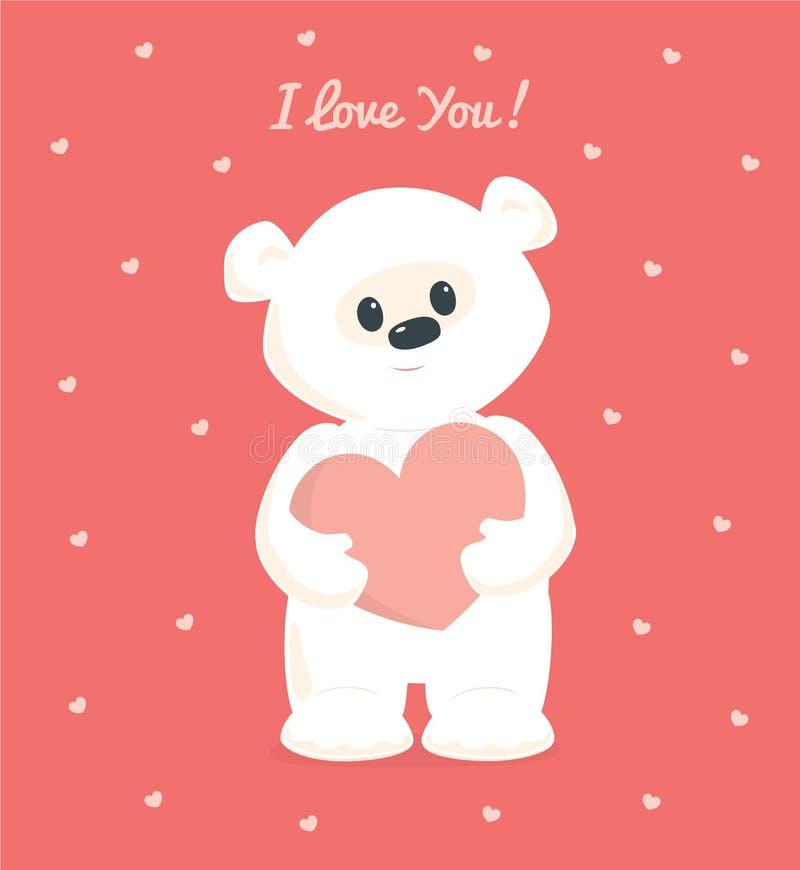 Ours de nounours blanc tenant le coeur Je t'aime illustration stock