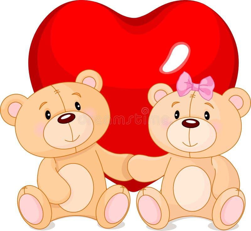 Ours de nounours dans l'amour illustration stock