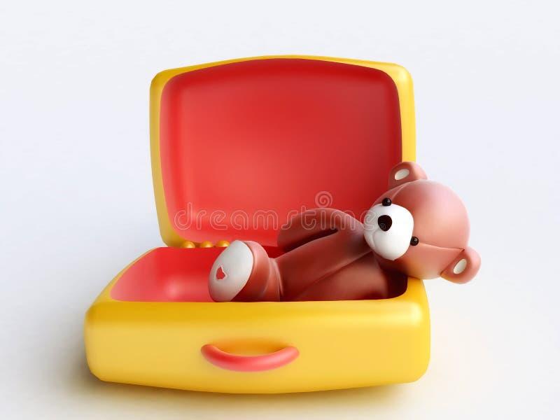 Ours de nounours dans la valise de jouet illustration stock
