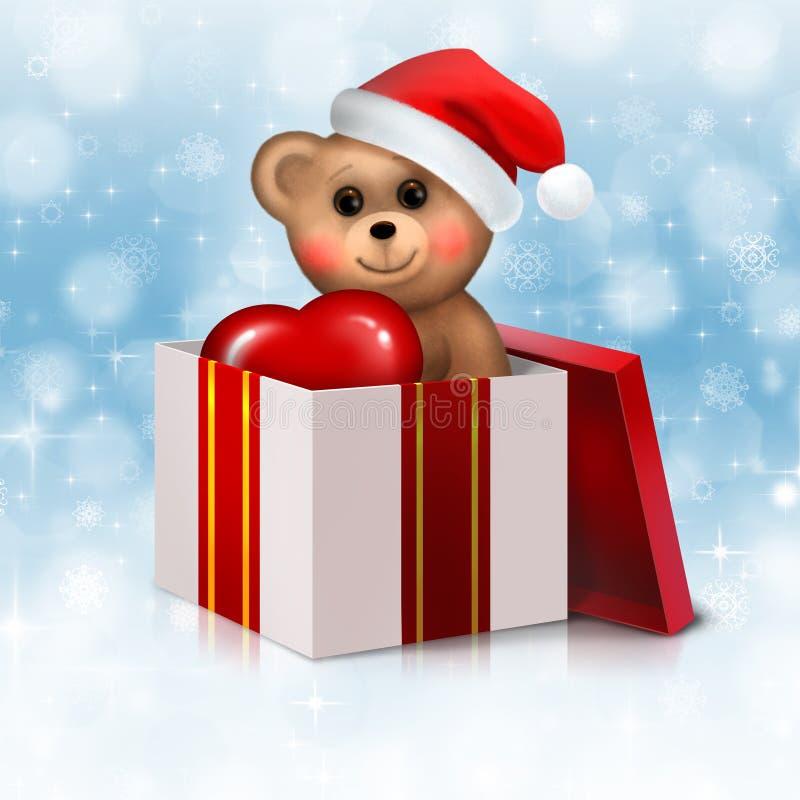 Ours de nounours dans le cadre de cadeau illustration stock