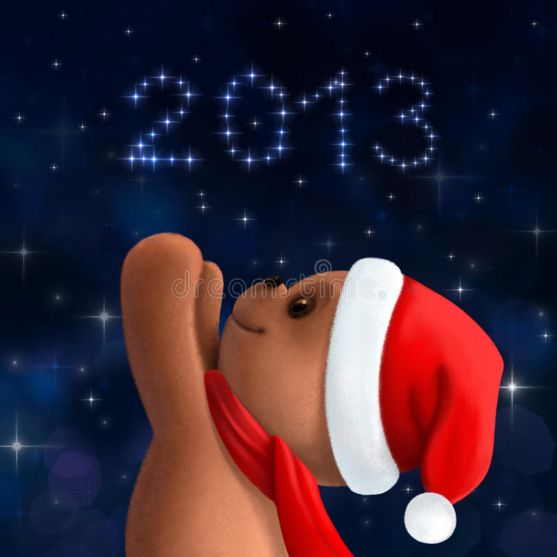 Ours de nounours dans le chapeau de Noël illustration stock