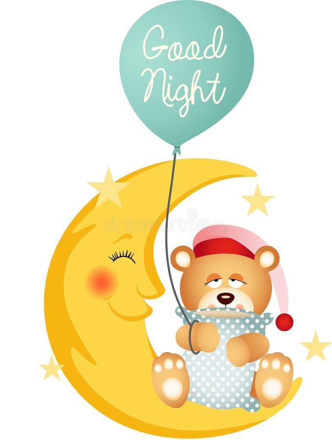 Ours de nounours de bonne nuit se reposant sur une lune illustration libre de droits