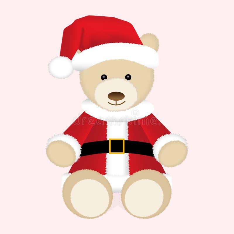 Ours de nounours de Noël dans le chapeau et la veste rouges de Santa Illustration d'isolement illustration stock