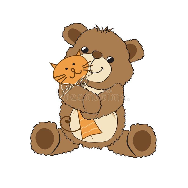 Ours de nounours jouant avec son jouet, un chat illustration libre de droits
