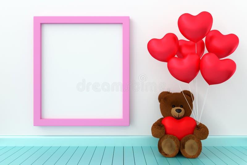 Ours de nounours jugeant le coeur de ballon pointu photo libre de droits