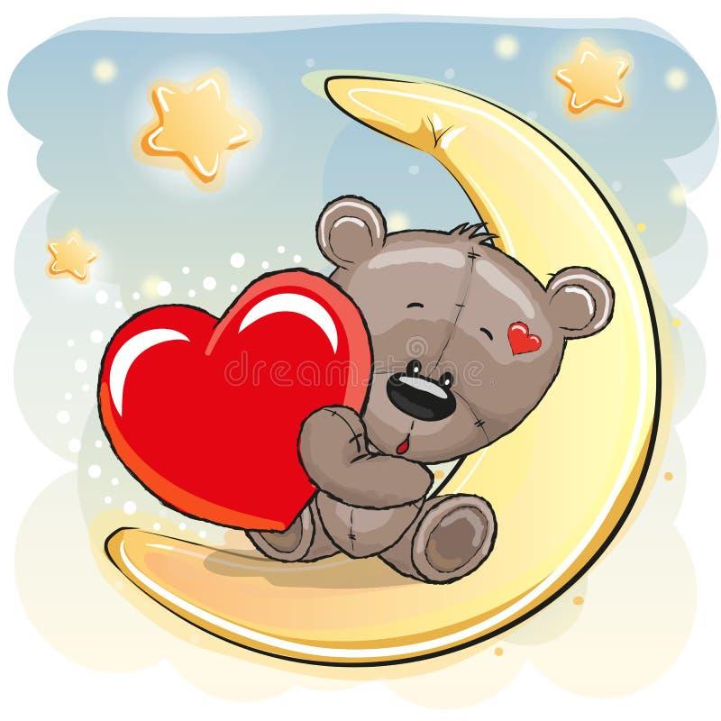 Ours de nounours mignon avec le coeur illustration stock