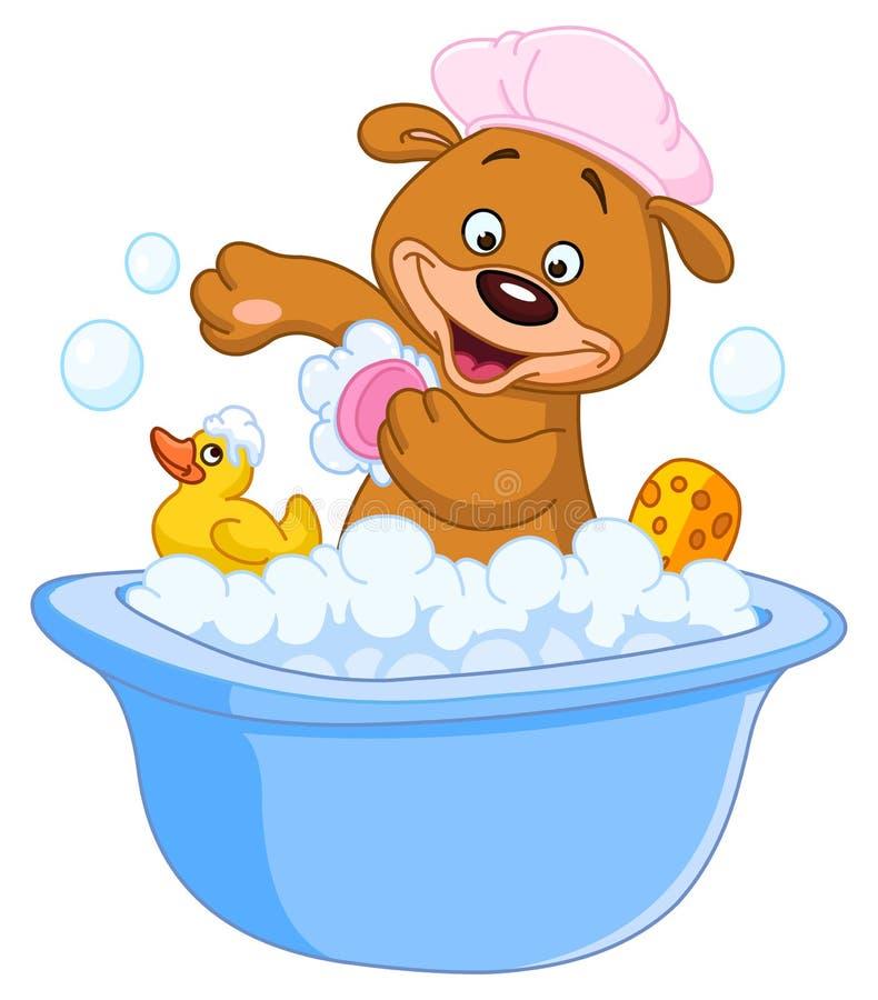 Ours de nounours prenant un bain illustration stock