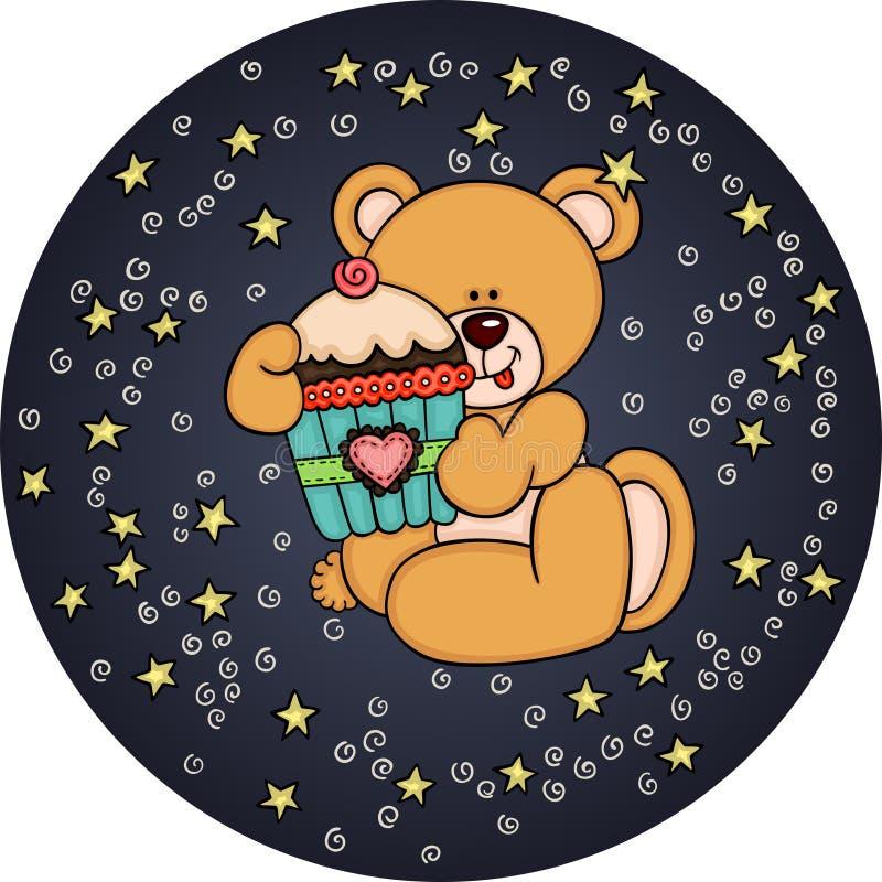 Ours de nounours tenant un petit gâteau du ciel nocturne en cercle illustration de vecteur