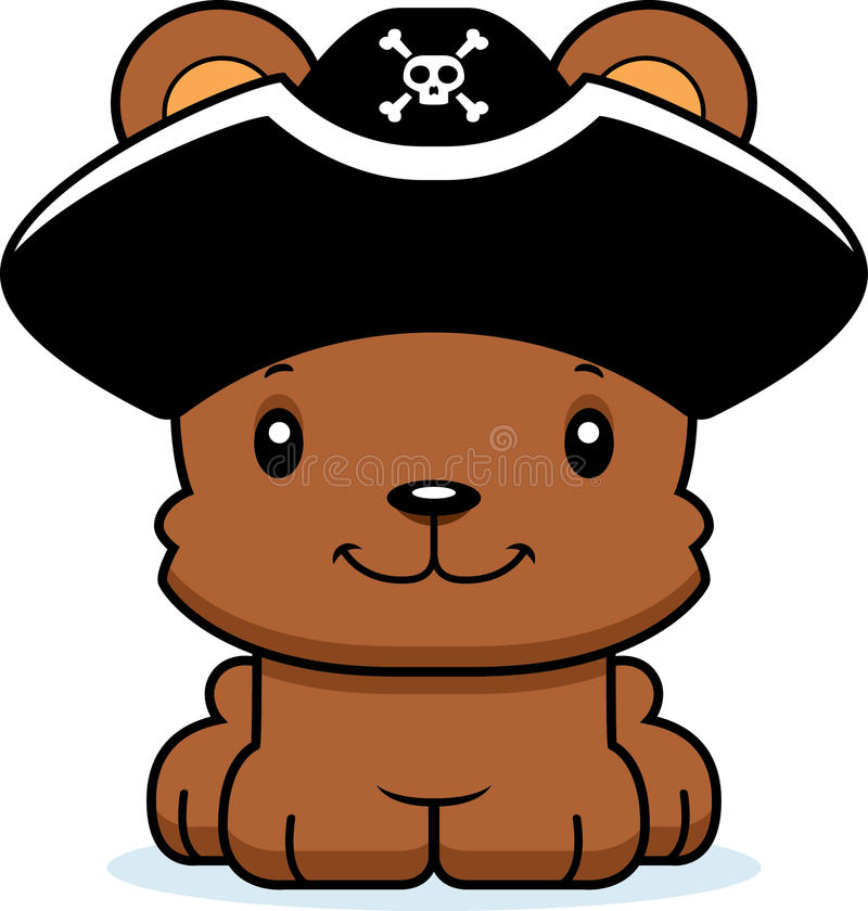 Ours de sourire de pirate de bande dessinée illustration de vecteur