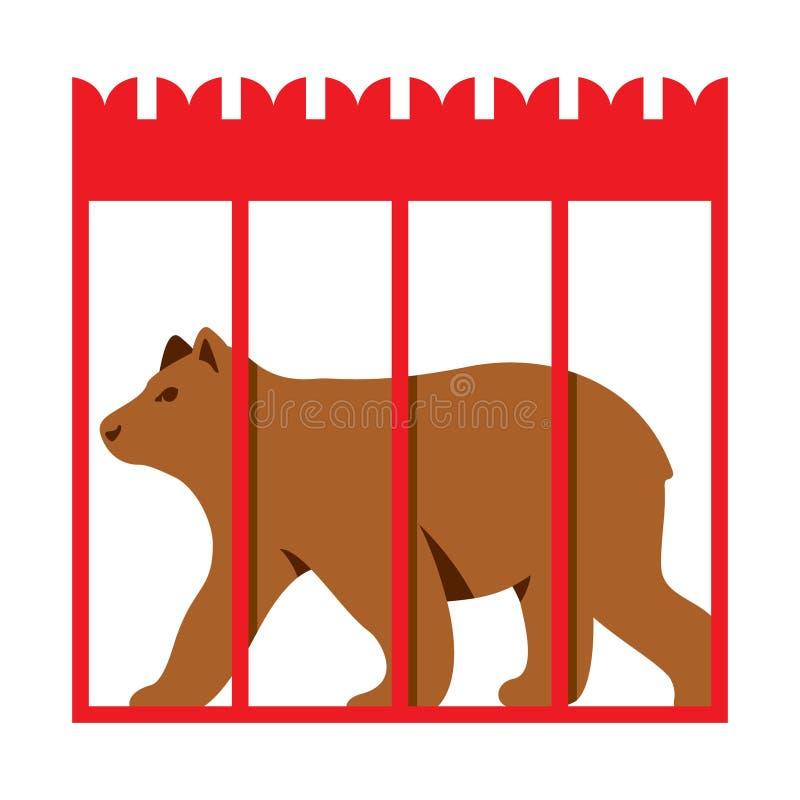 Ours de vecteur dans la cage de zoo Illustration colorée de bande dessinée de style plat illustration stock