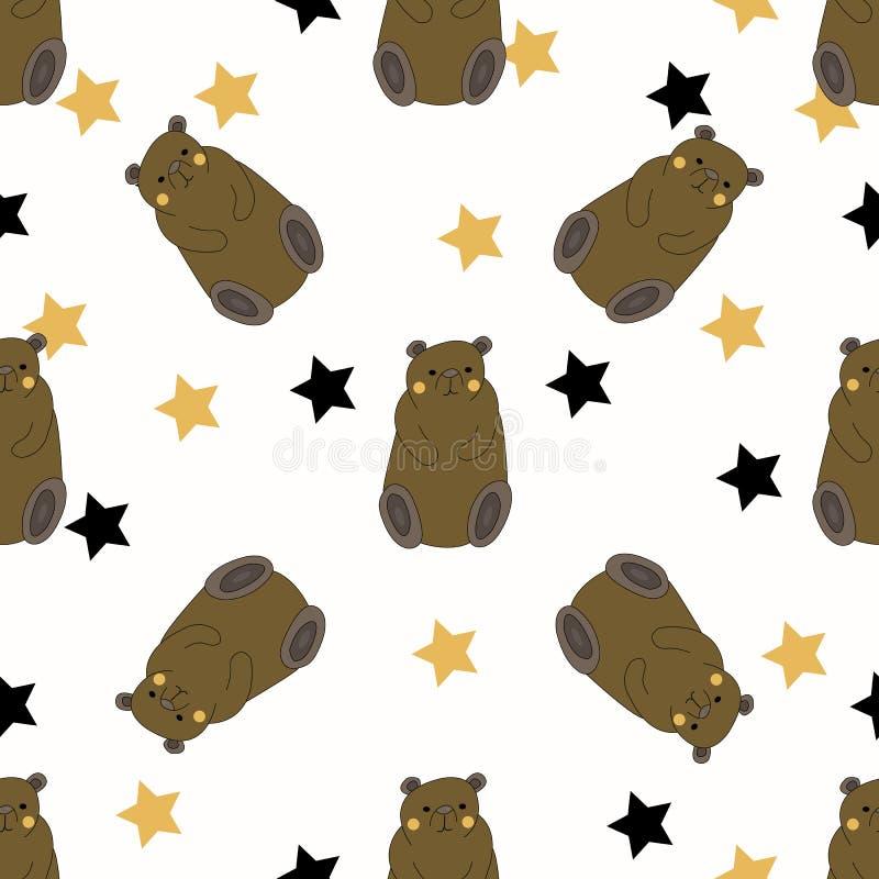 Ours drôles avec les étoiles jaunes et noires illustration libre de droits