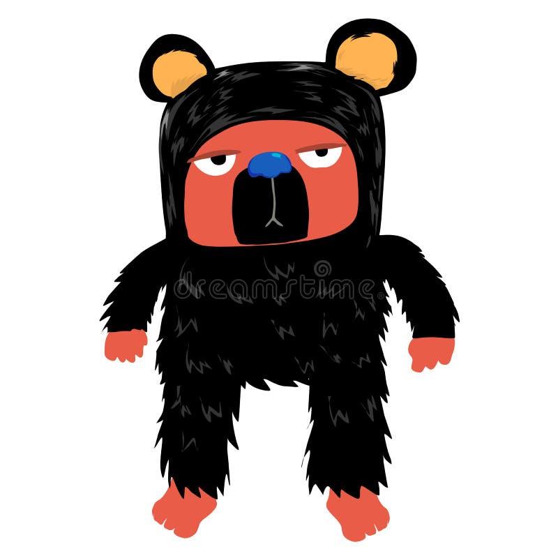 Ours ennuyé avec la laine noire et le personnage de dessin animé de visage rouge illustration stock