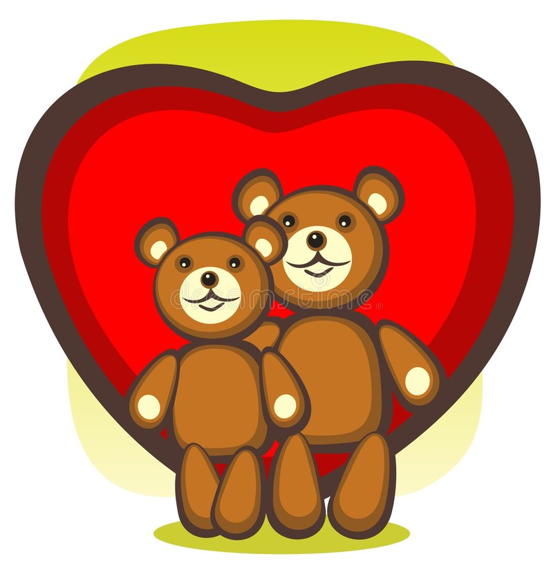 Ours et coeur illustration de vecteur