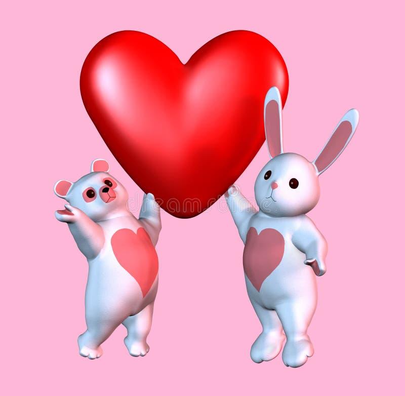 Ours et lapin Valentine avec le chemin de découpage illustration stock
