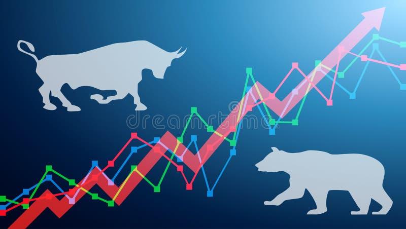 Ours et taureau sur un diagramme, avec des flèches montant Taureau et ours de concept de marché boursier illustration de vecteur