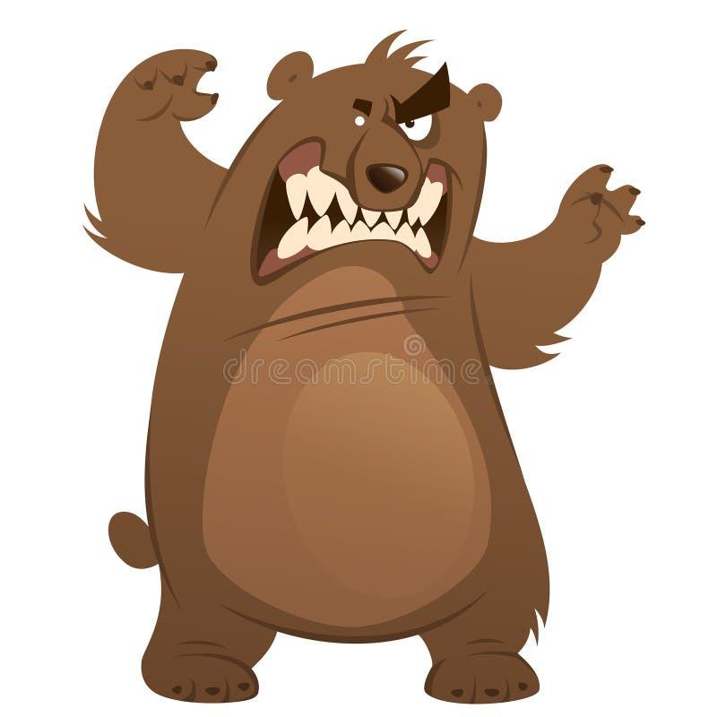 Ours gris fâché et drôle de brun de bande dessinée rendant l'attaque gest illustration de vecteur