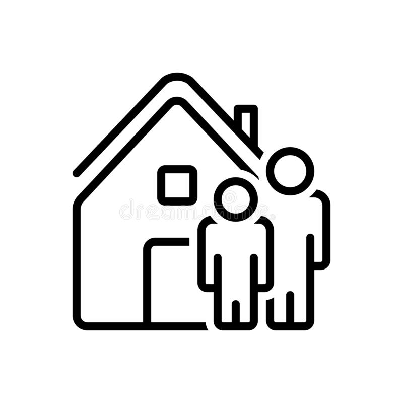 Black line icon for Ours, we and home. Black line icon for ours, residence, accommodation, habitation, people,  we and home vector illustration