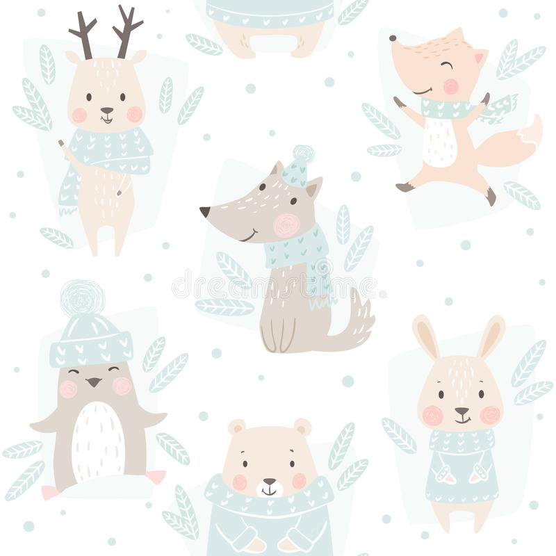 Ours, loup, renne, lièvre, renard, modèle sans couture d'hiver de bébé de pingouin Fond animal mignon de Noël illustration de vecteur