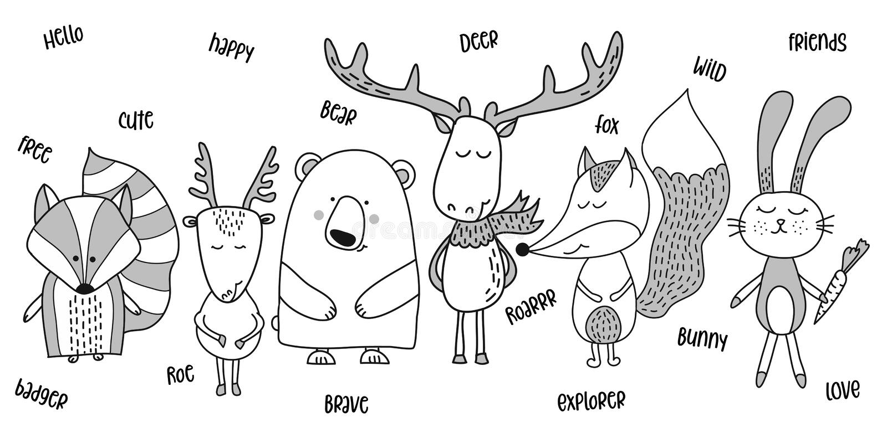 Ours mignon, blaireau, renard, oeufs de poisson, cerfs communs, lapin illustration libre de droits