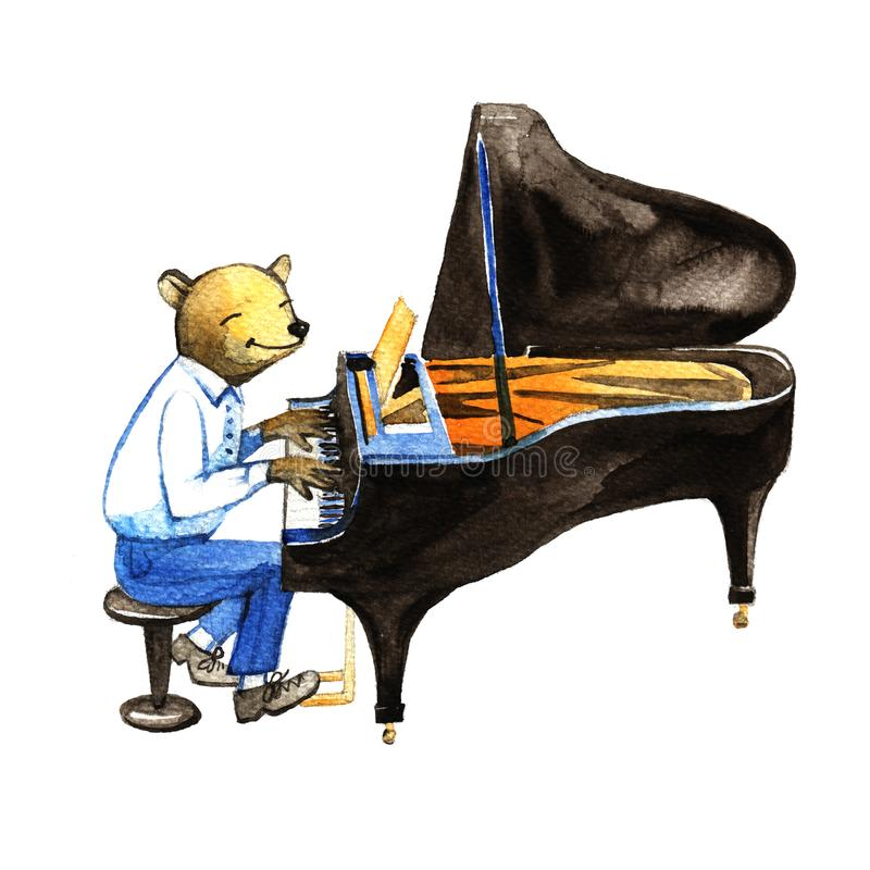 Ours mignon dans un costume jouant le jazz de piano Illustration tirée par la main d'aquarelle, art de mur d'affiche illustration stock