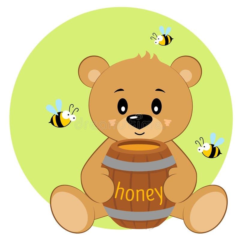Ours mignon de bande dessinée avec du miel et des abeilles images libres de droits