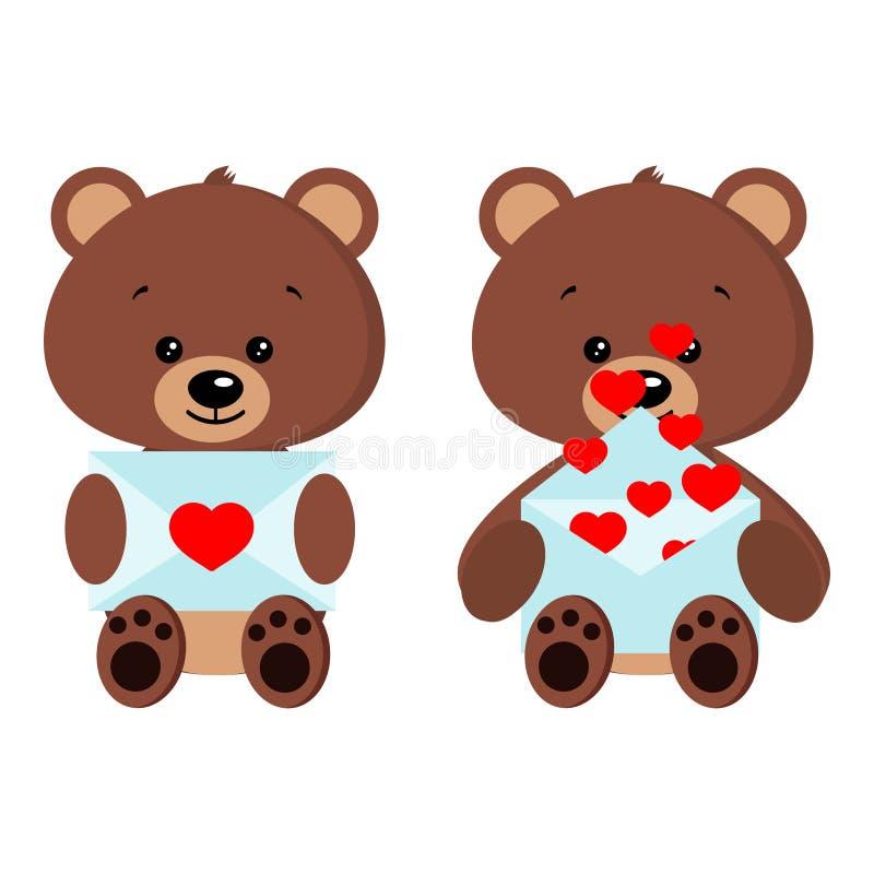 Ours mignon de jouet de brun de bébé d'ensemble romantique dans la pose se reposante avec la lettre d'amour dans la patte illustration libre de droits