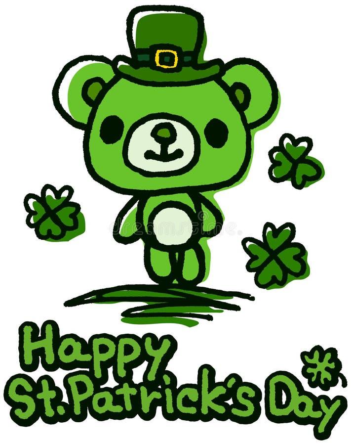 Ours mignon du jour de St Patrick illustration de vecteur