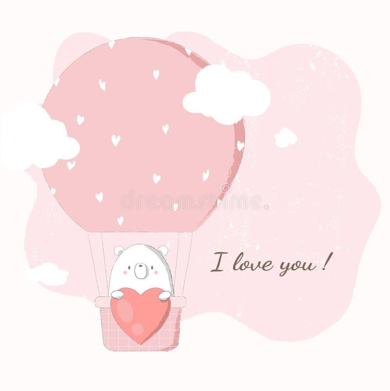 Ours mignon tenant le grand coeur dans le ballon à air chaud flottant en ciel rose illustration de vecteur