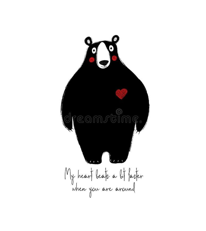 Ours noir mignon avec le coeur illustration de vecteur