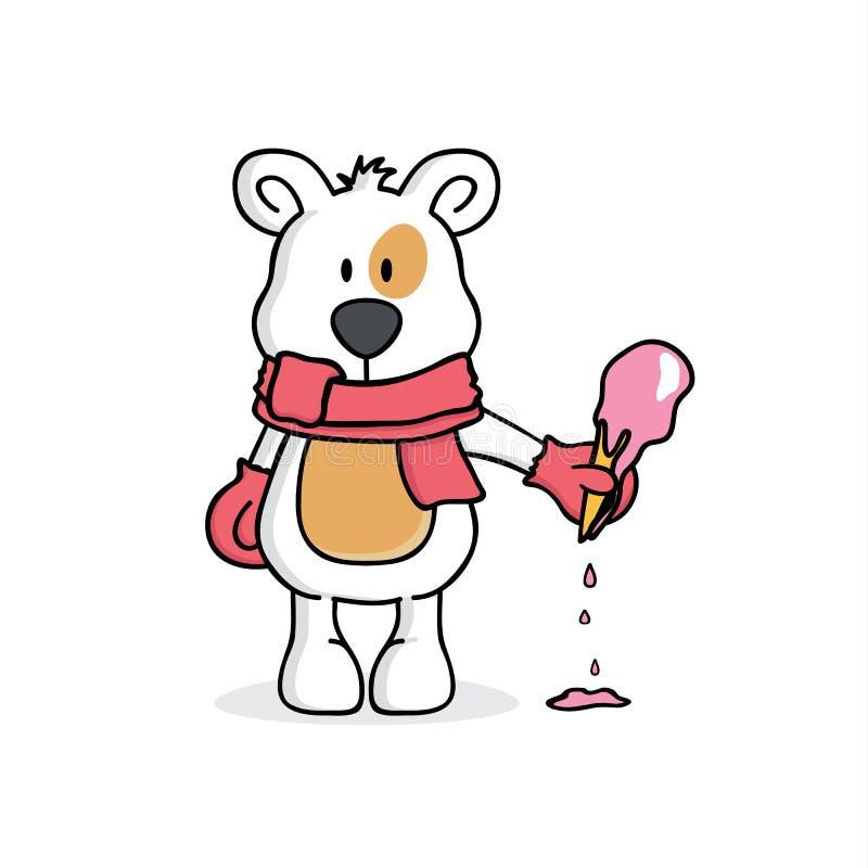 Ours ou chien avec une crème glacée  illustration stock