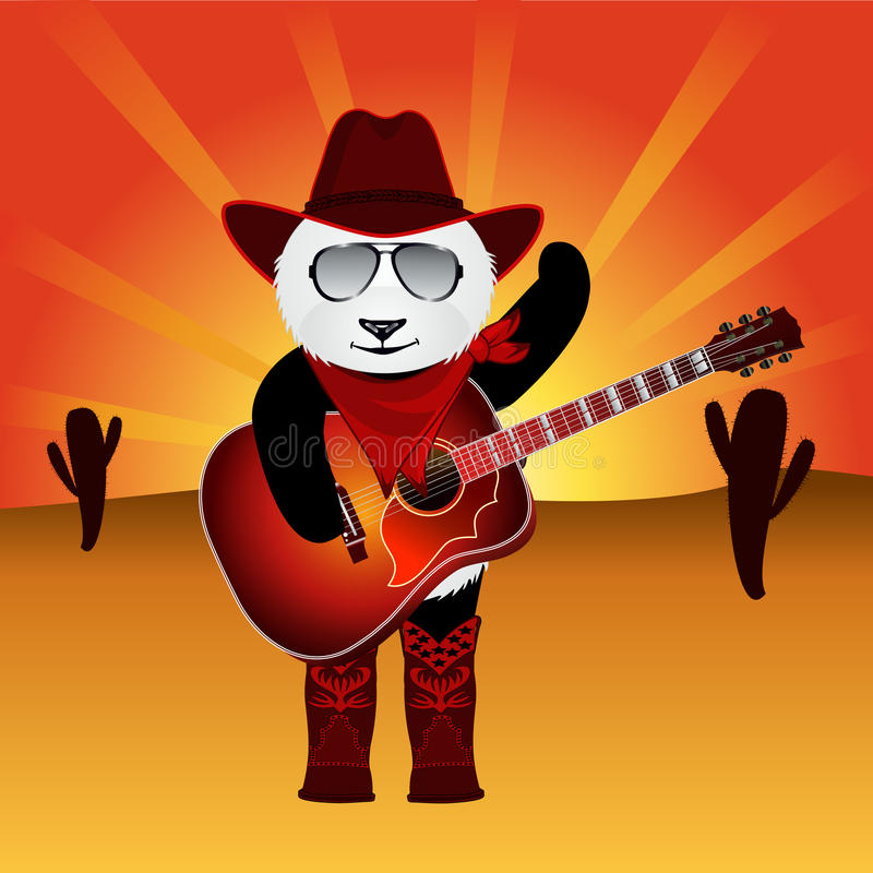 Ours panda de bande dessinée avec la guitare acoustique sur le fond de désert avec le ciel de rayon de soleil illustration libre de droits