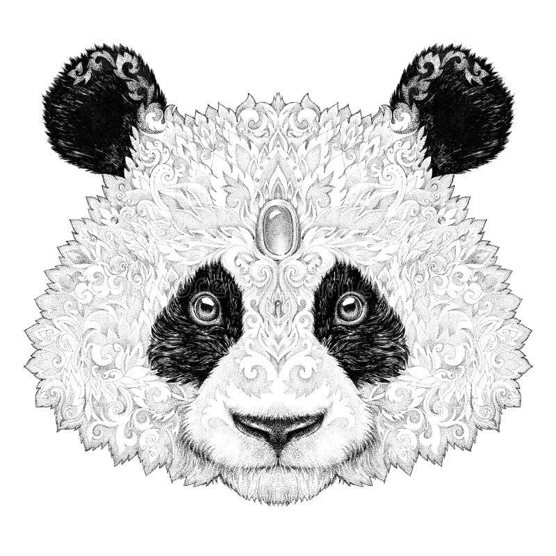 Ours panda de portrait de tatouage illustration de vecteur