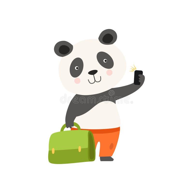 Ours panda de touristes gai avec la valise, personnage de dessin animé animal mignon voyageant sur le vecteur de vacances d'été illustration libre de droits