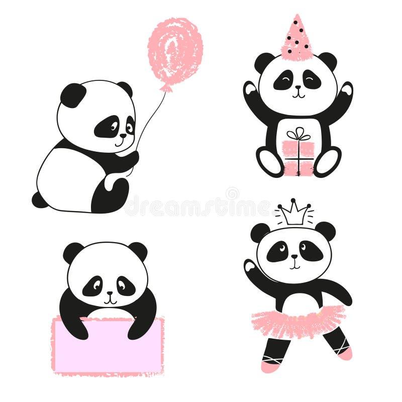 Ours panda mignons de bande dessinée réglés illustration libre de droits