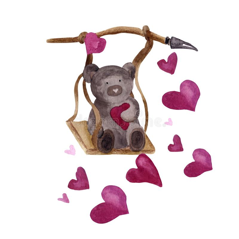 Ourson de cécules d'aquarelle sur une balançoire en bois pour la Saint-Valentin illustration de vecteur