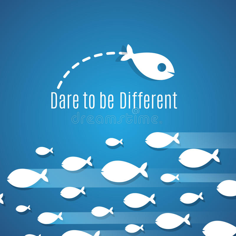 Ouse ser conceito diferente do vetor da solução do sucesso com grupo pequeno dos peixes ilustração royalty free