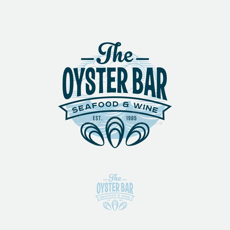 Ouster Bar Logo. Seafood Restaurant Emblem.  Letters and Oyster Symbols. Ouster Bar Logo. Seafood Restaurant Emblem.  Letters and Oyster Symbols an Engraving stock illustration
