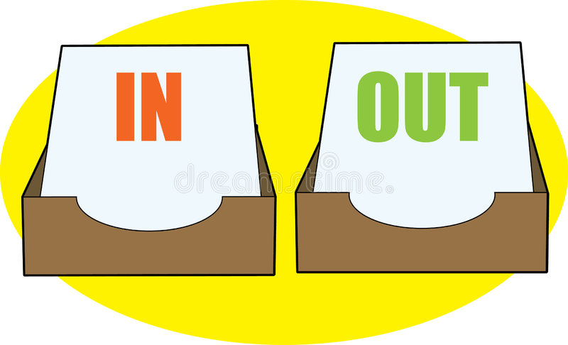 In & Out bins. In and Out bins filled with papers royalty free illustration