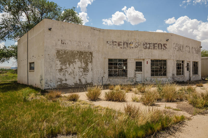 Out of Business Service Station. And repair shop on Route 66 looks like it tried other businesses before it closed its doors for good stock image