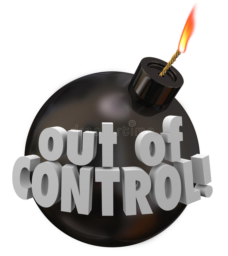 Out of Control Bomb Failure Trouble Problem Bad Mismanagement. Out of Control words on a black round bomb about to blow up as a failure or mismanagement job royalty free illustration