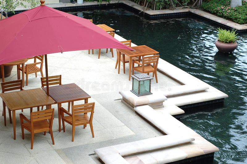 Out door restaurant with wood dining table