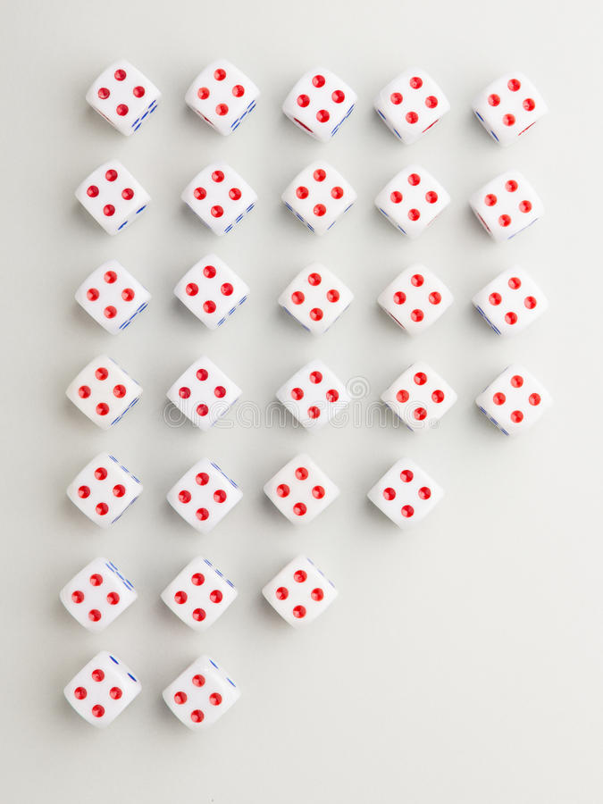 Out four cross pattern. Cross pattern array dice by number 4 up with outer space cut on gray background royalty free stock image