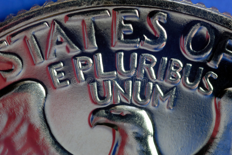 Out of Many, One. Red, White, and Blue From American Flag Reflected in E Pluribus Unum Motto on Vintage, Retro, 1967 United States Quarter stock images