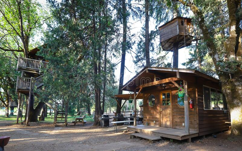 Out'N'About Treehouse Treesort near Cave Junction, Oregon. Cave Junction, Oregon - July 2019:  Out`N`About Treehouse Treesort, built by Michael Garnier, is a royalty free stock photography