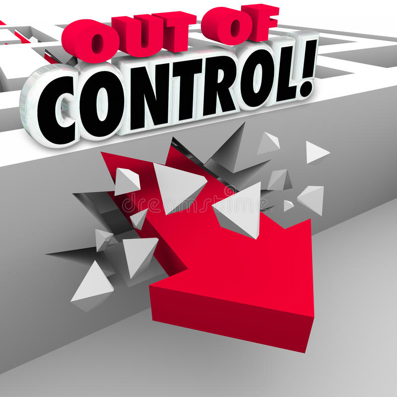 Free Out Of Control Arrow Breaking Through Maze Walls Royalty Free Stock Photo - 43289715