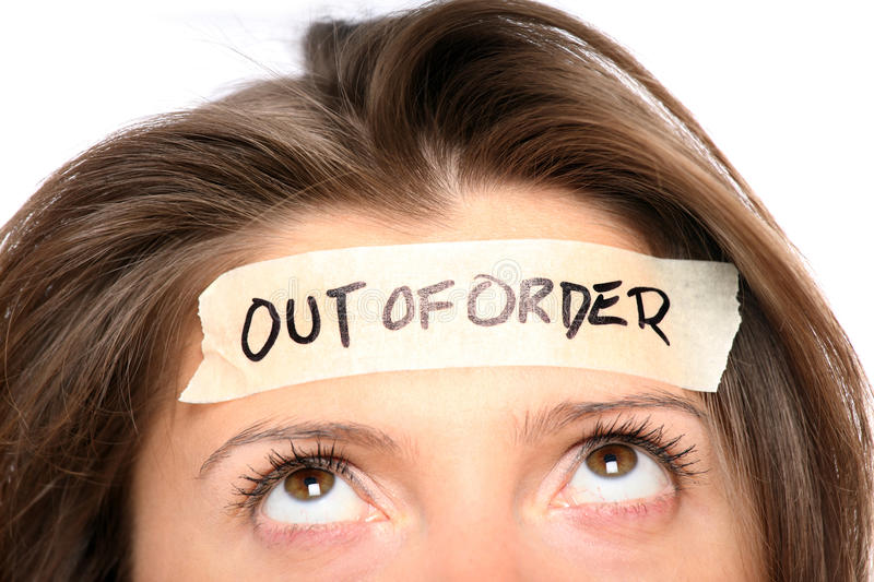 Out of order. A portrait of a young woman having enough of everything royalty free stock photography