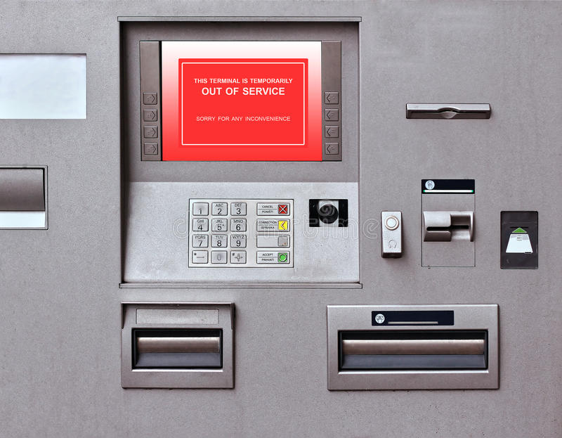 Out of service. Banking machine with out of service sign on screen royalty free stock images